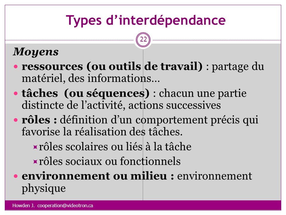 Types d'interdépendance