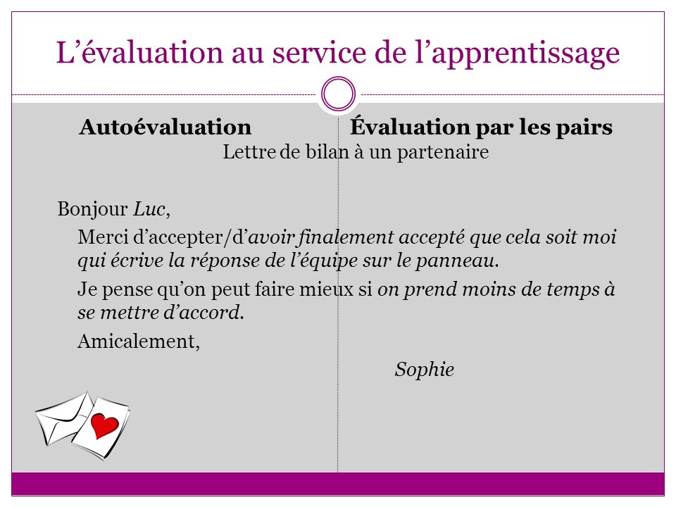 L'évaluation au service de l'apprentissage