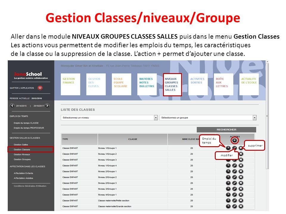 Gestion Classes/niveaux/Groupe