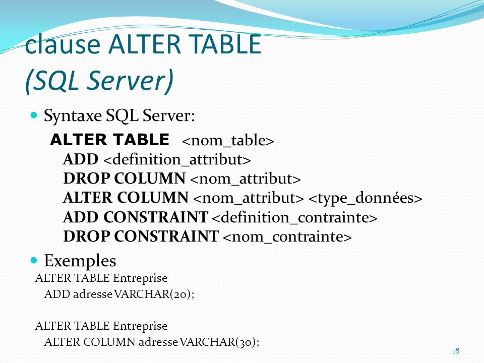 Le langage sql ppt video online t l charger - Alter table change column type ...