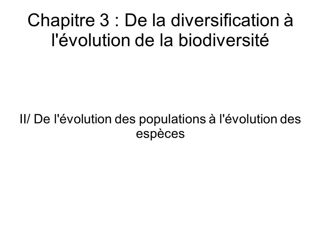 Chapitre 3 : De la diversification à l évolution de la biodiversité