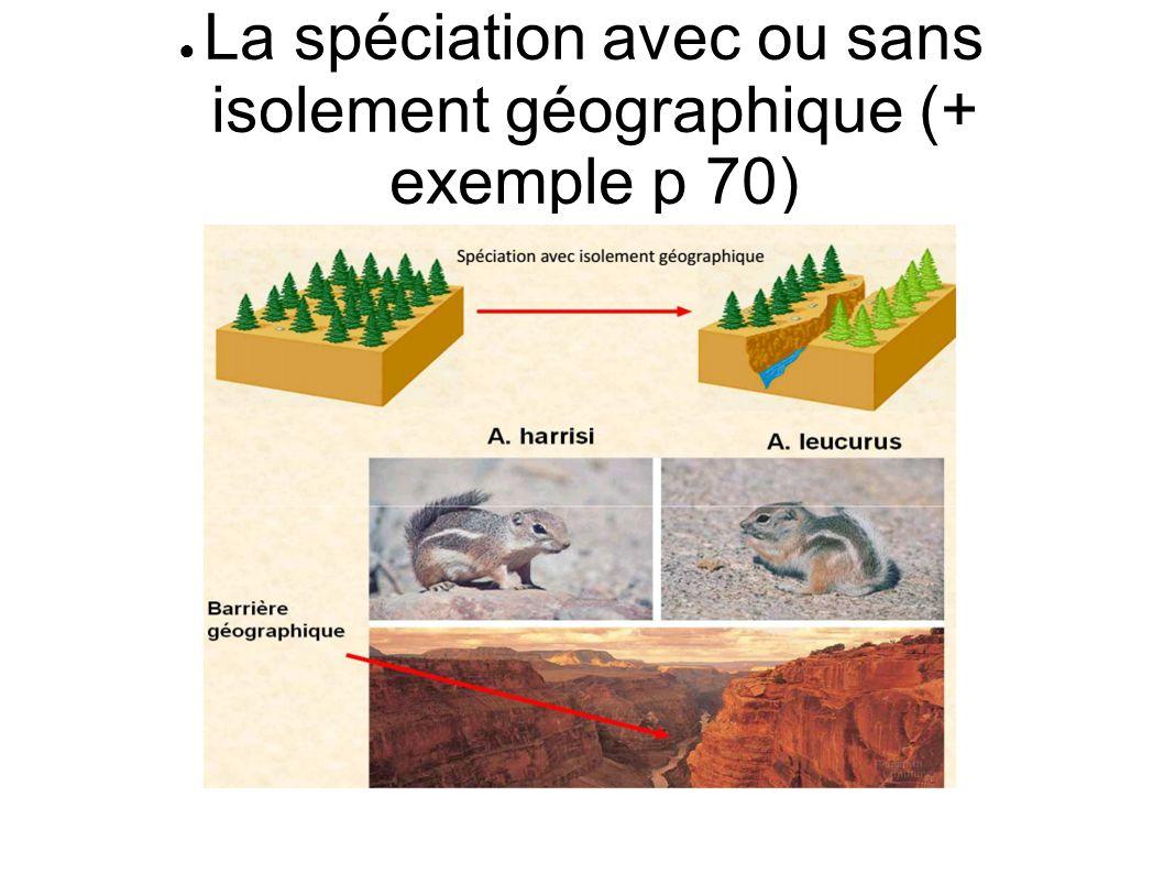 La spéciation avec ou sans isolement géographique (+ exemple p 70)