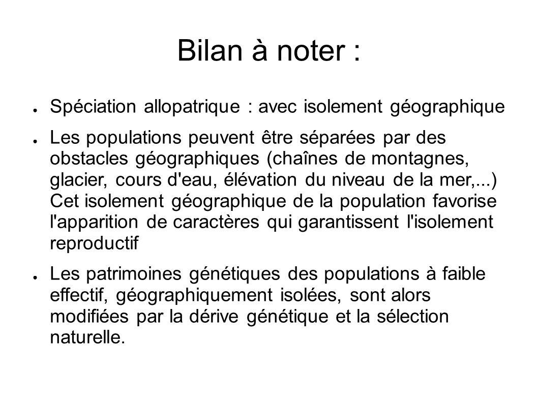 Bilan à noter : Spéciation allopatrique : avec isolement géographique