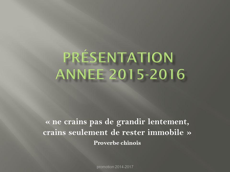 Présentation ANNEE 2015-2016 « ne crains pas de grandir lentement, crains seulement de rester immobile »
