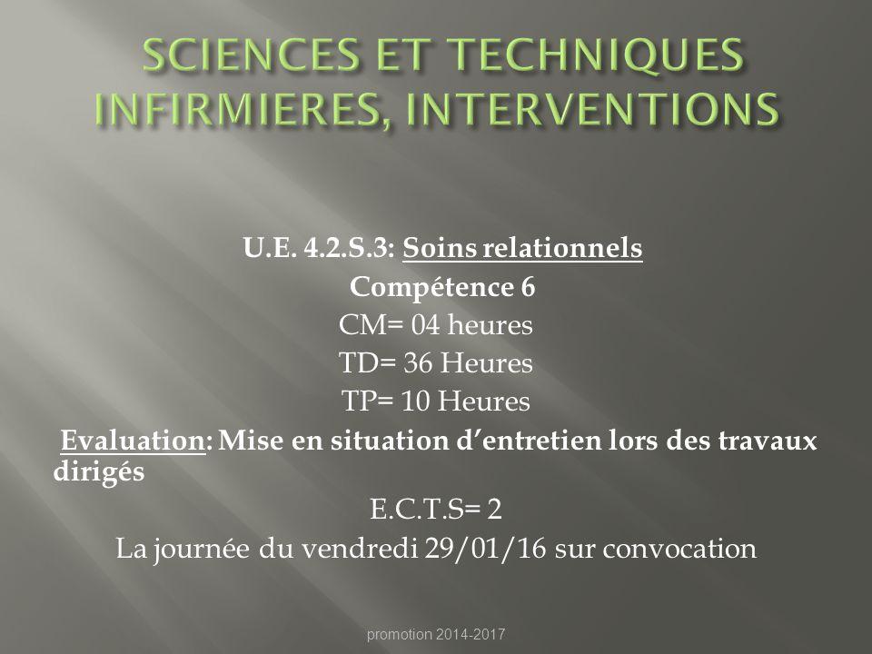 SCIENCES ET TECHNIQUES INFIRMIERES, INTERVENTIONS