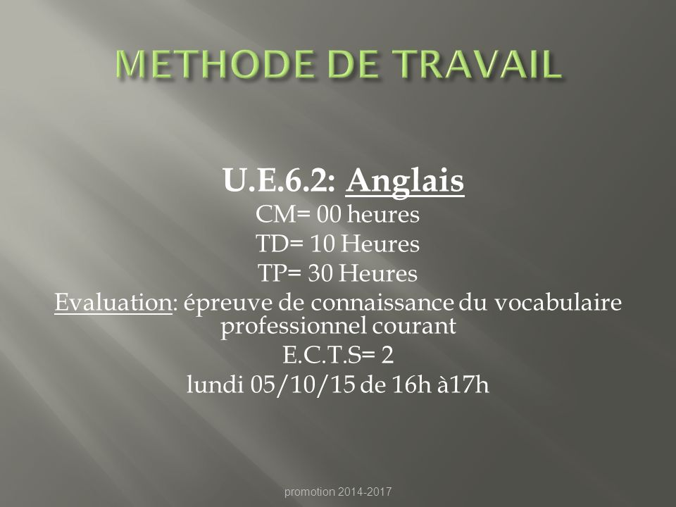 METHODE DE TRAVAIL U.E.6.2: Anglais CM= 00 heures TD= 10 Heures