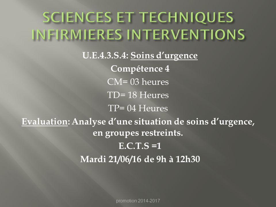 SCIENCES ET TECHNIQUES INFIRMIERES INTERVENTIONS