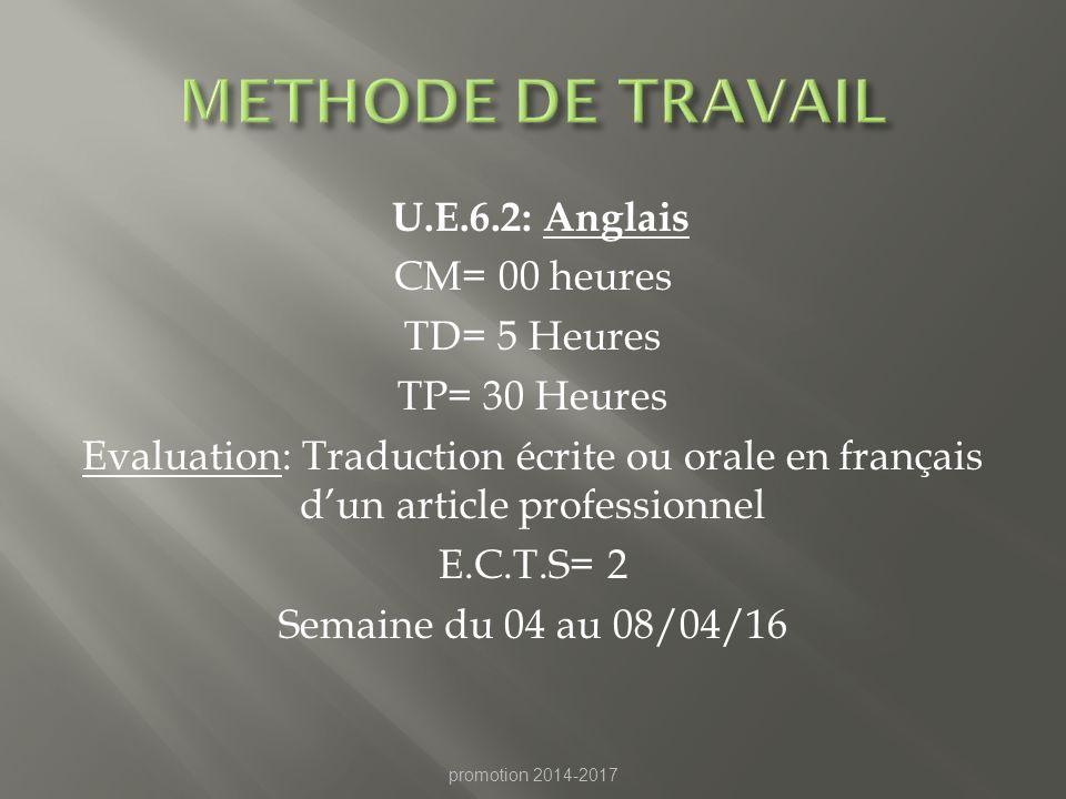 METHODE DE TRAVAIL U.E.6.2: Anglais CM= 00 heures TD= 5 Heures