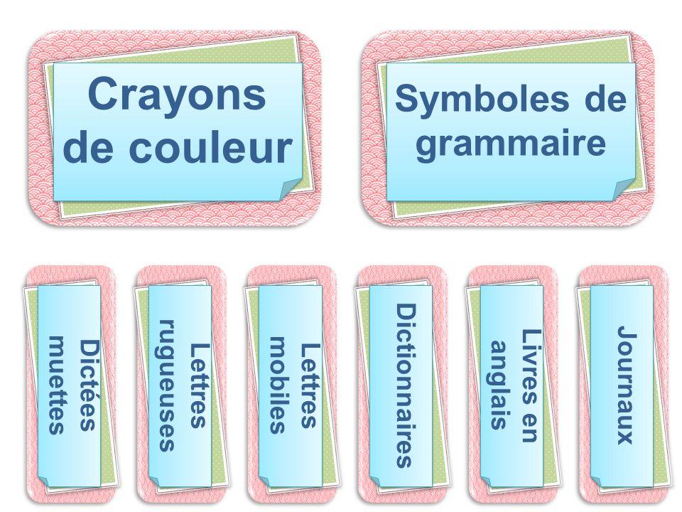 Crayons de couleur Symboles de grammaire Dictionnaires