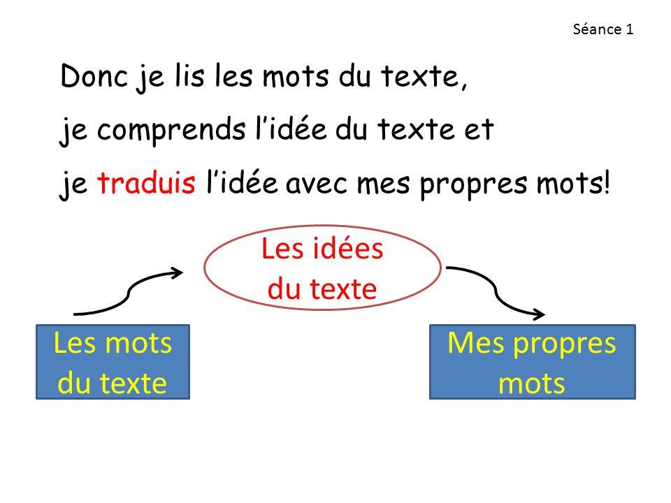 Les idées du texte Les mots du texte Mes propres mots