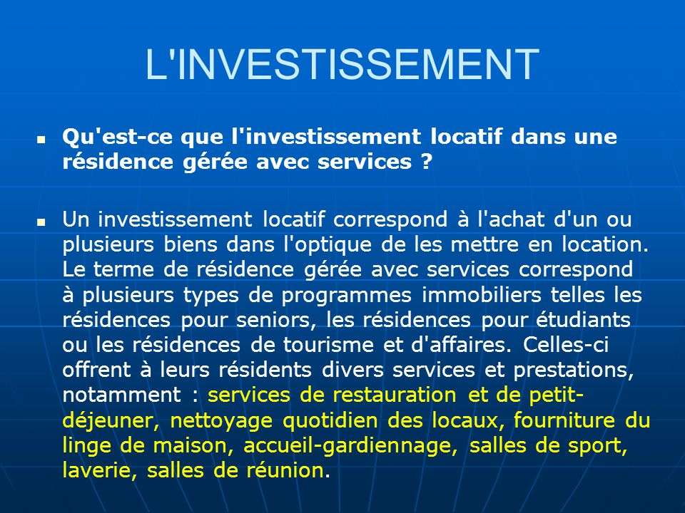 Investissement immobilier locatif pour les expatries ppt t l charger - Qu est ce qu une residence service ...