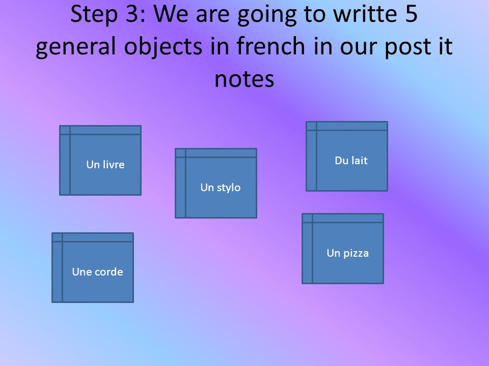 Step 3: We are going to writte 5 general objects in french in our post it notes