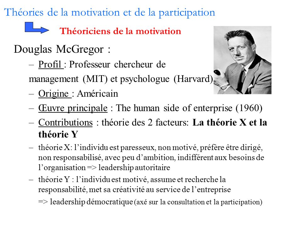 contribution of mcgregor to motivation Many different motivation theories have been created and dissected over the past century in an  recognising workers' contributions   mcgregor's theory x .