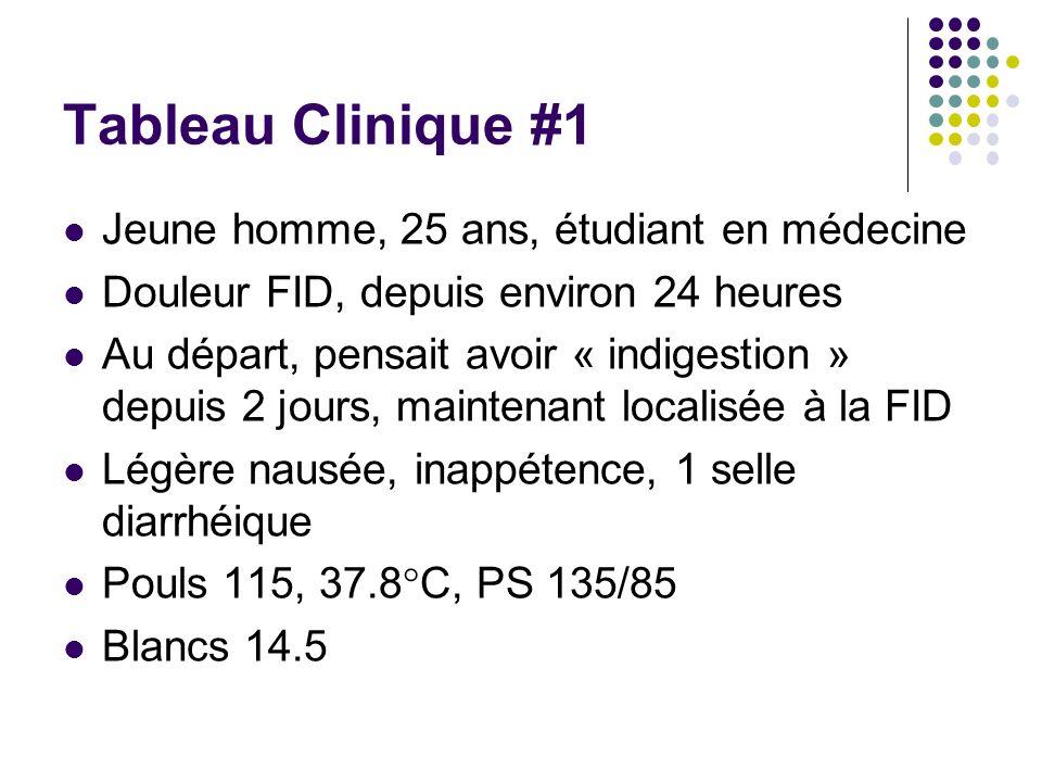 Tableau Clinique #1 Jeune homme, 25 ans, étudiant en médecine