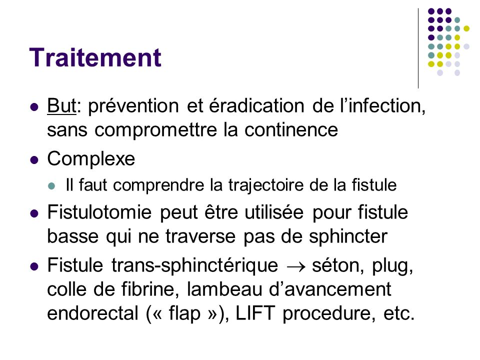 Traitement But: prévention et éradication de l'infection, sans compromettre la continence. Complexe.