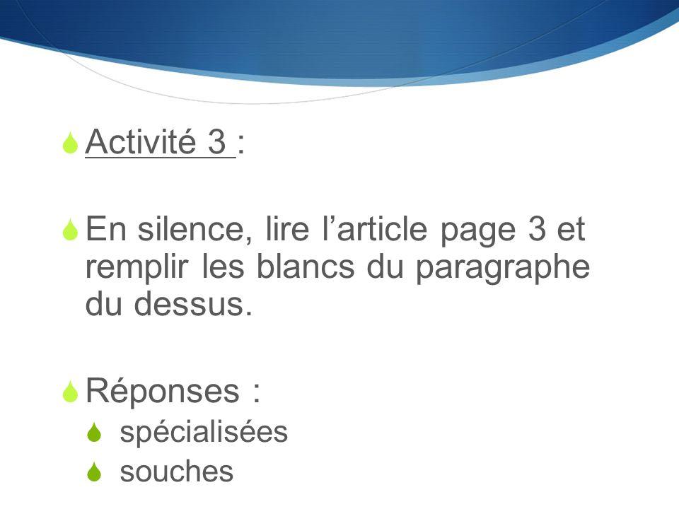 Activité 3 : En silence, lire l'article page 3 et remplir les blancs du paragraphe du dessus. Réponses :