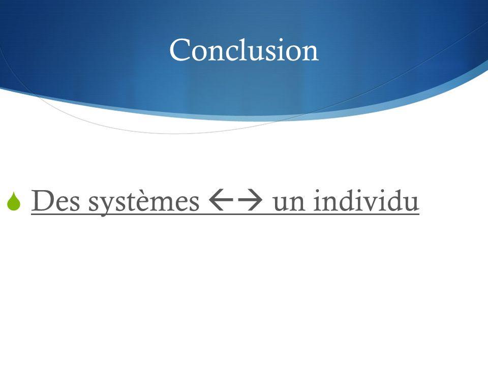 Conclusion Des systèmes  un individu