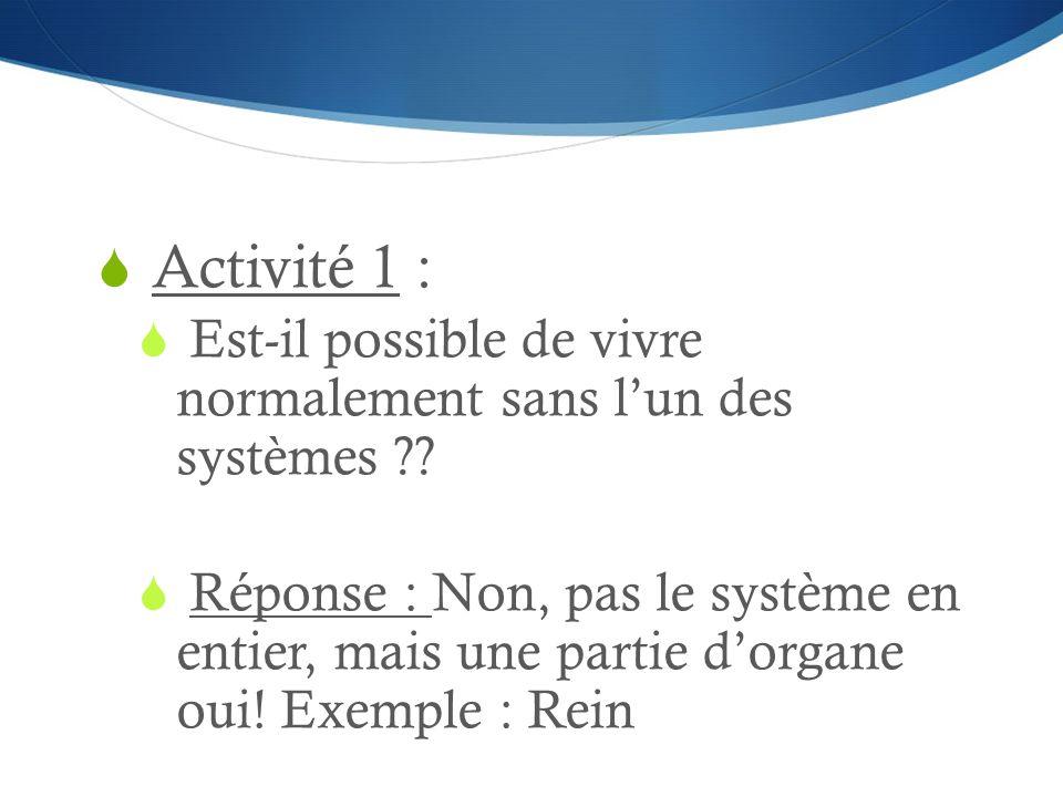 Activité 1 : Est-il possible de vivre normalement sans l'un des systèmes