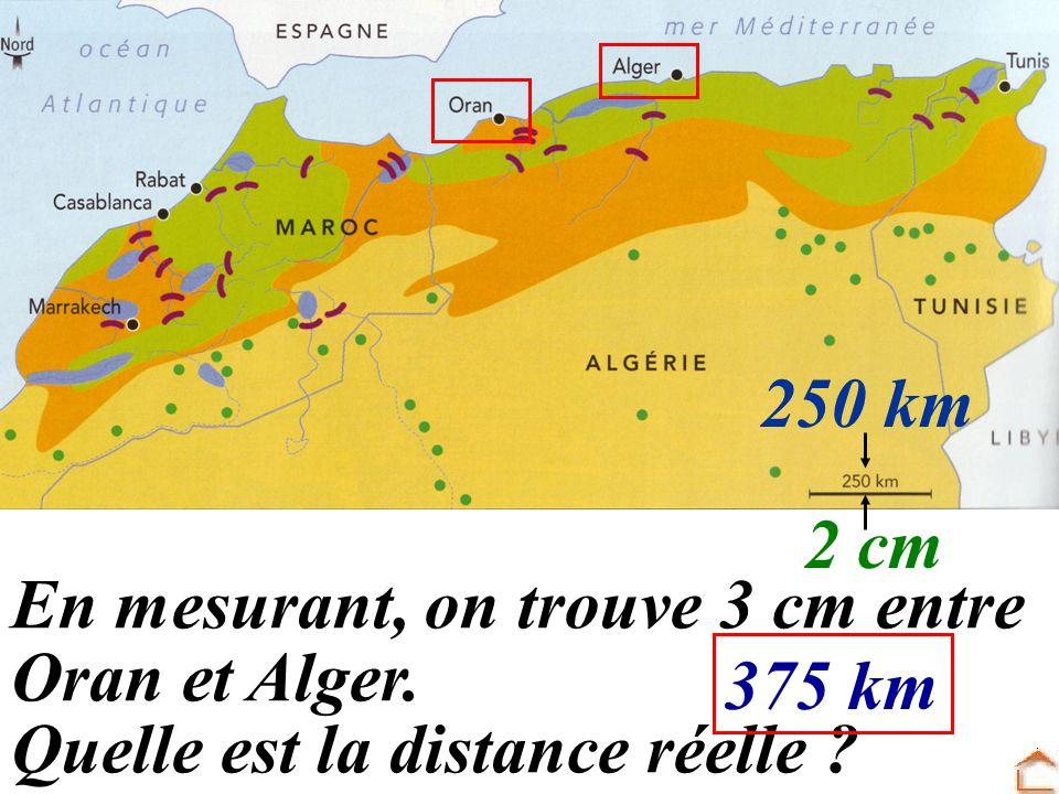 250 km 2 cm En mesurant, on trouve 3 cm entre Oran et Alger. Quelle est la distance réelle 375 km