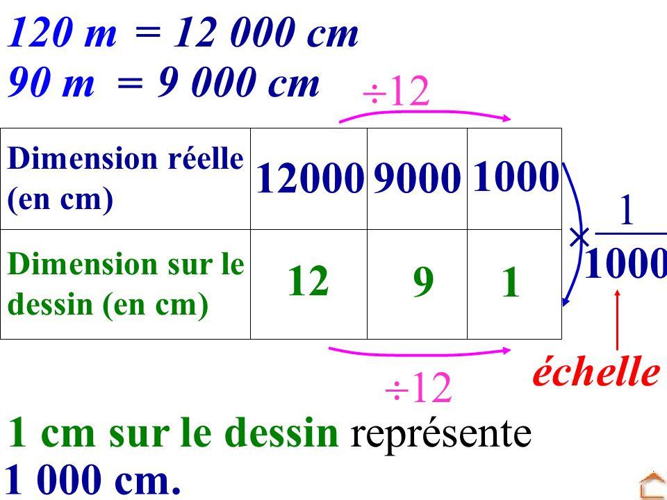 1 cm sur le dessin représente 1 000 cm.