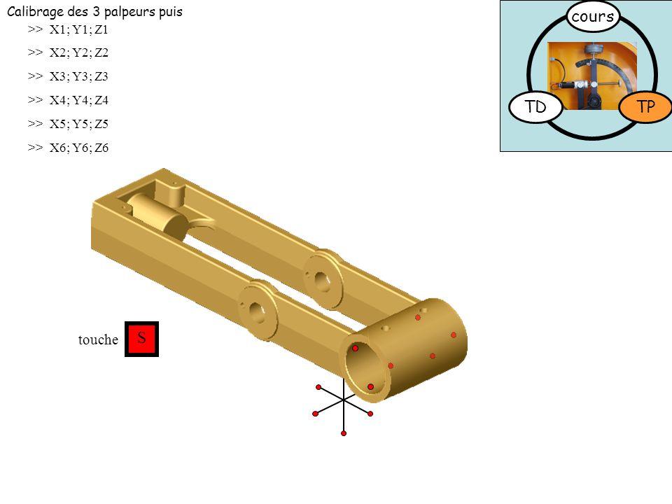 cours TD TP S touche Calibrage des 3 palpeurs puis >> X1; Y1; Z1