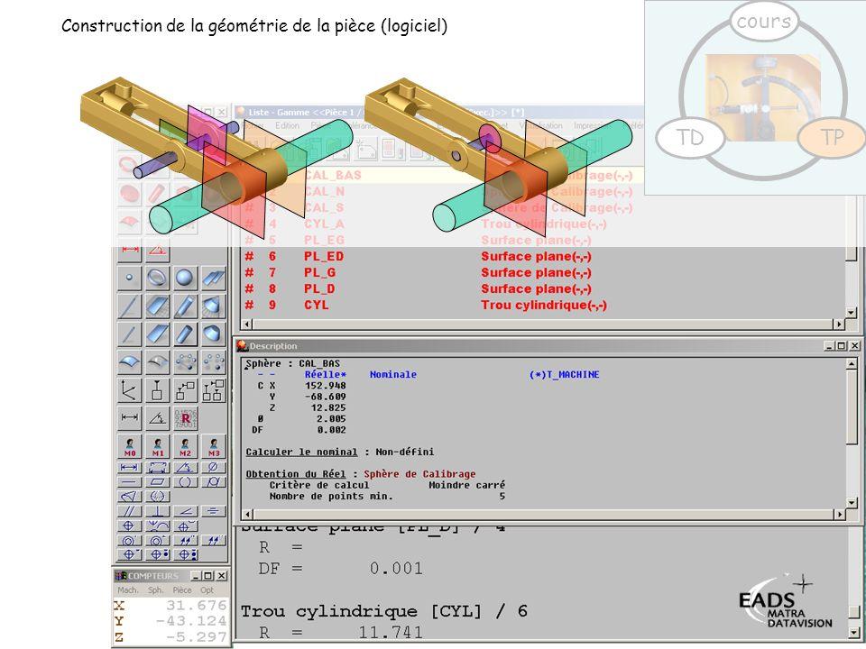 cours Construction de la géométrie de la pièce (logiciel) TD TP