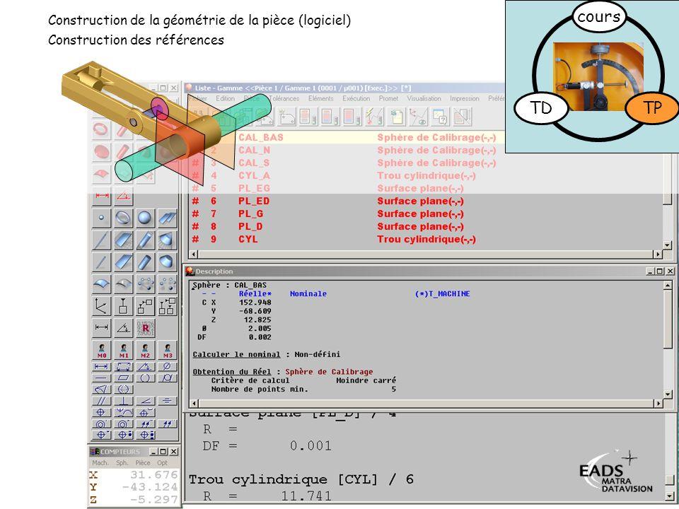 cours TD TP Construction de la géométrie de la pièce (logiciel)