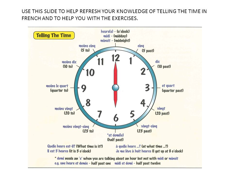 USE THIS SLIDE TO HELP REFRESH YOUR KNOWLEDGE OF TELLING THE TIME IN FRENCH AND TO HELP YOU WITH THE EXERCISES.