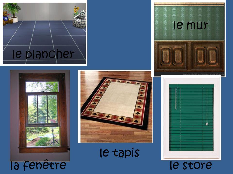 le mur le plancher le tapis la fenêtre le store