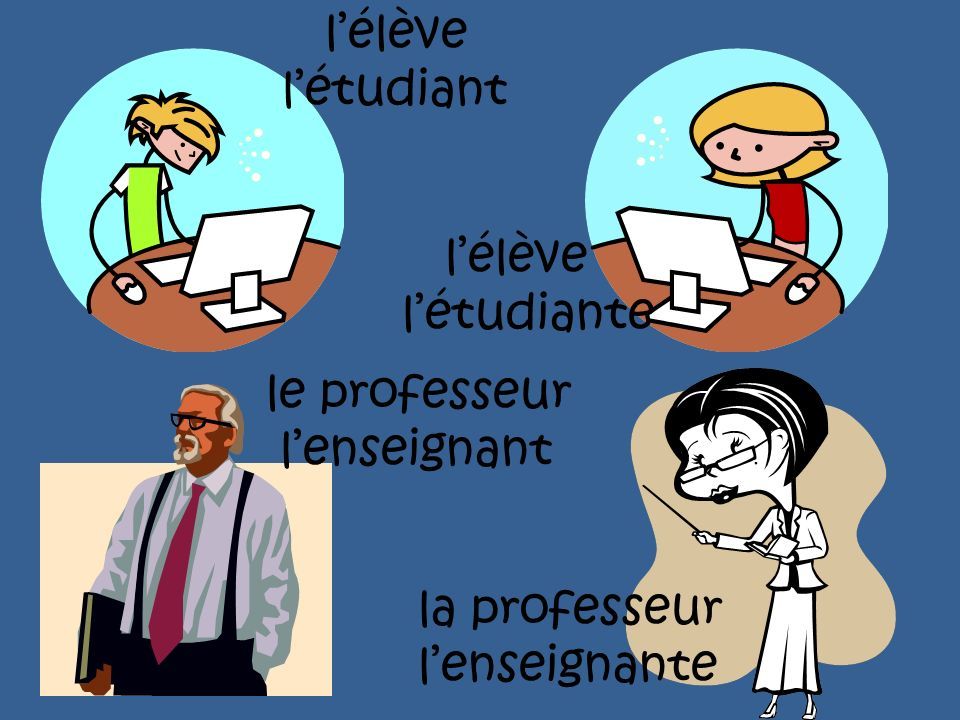 l'élève l'étudiant l'élève l'étudiante le professeur l'enseignant la professeur l'enseignante