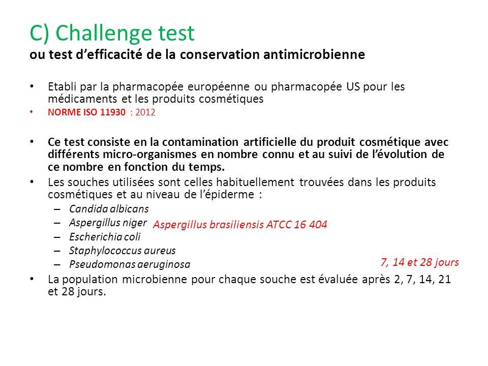 C) Challenge test ou test d'efficacité de la conservation antimicrobienne.