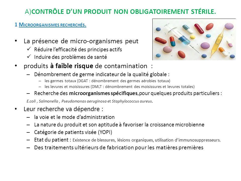 A)Contrôle d'un produit non obligatoirement stérile.