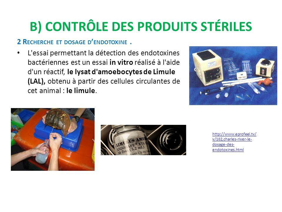 B) Contrôle des produits stériles