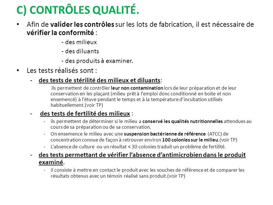 C) Contrôles Qualité. Afin de valider les contrôles sur les lots de fabrication, il est nécessaire de vérifier la conformité :