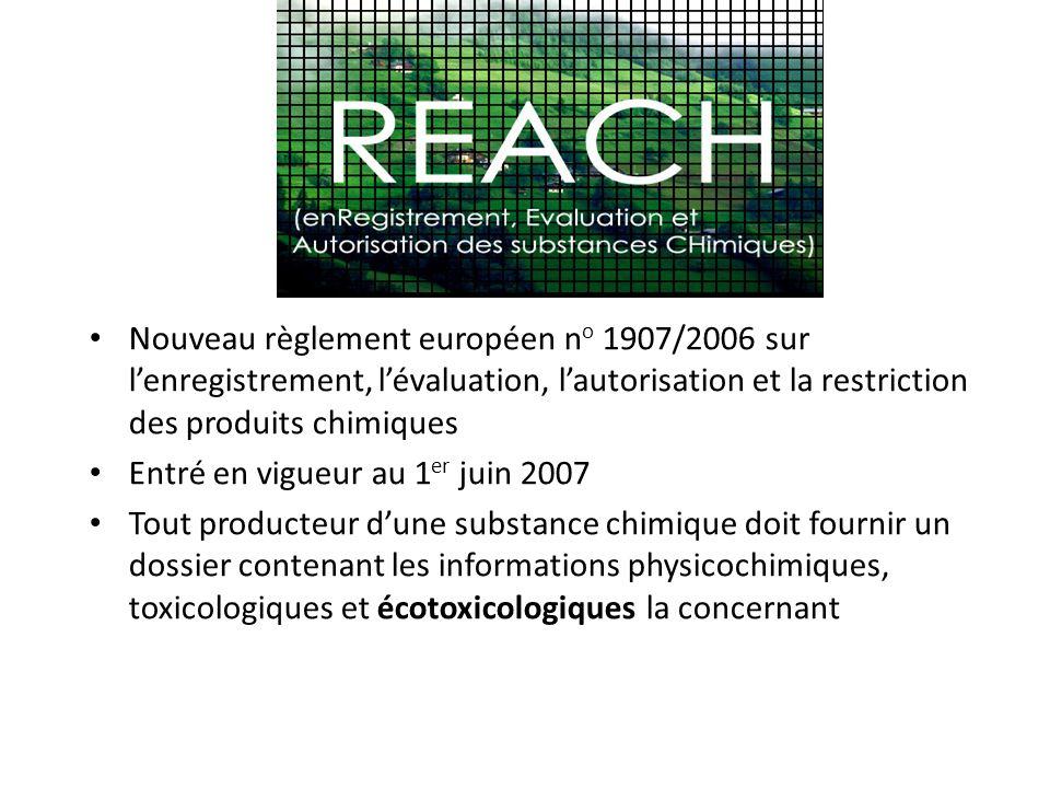 Nouveau règlement européen no 1907/2006 sur l'enregistrement, l'évaluation, l'autorisation et la restriction des produits chimiques