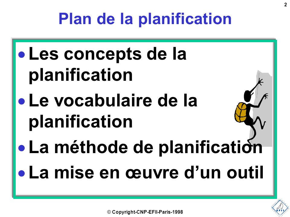 Plan de la planification