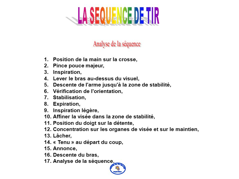 LA SEQUENCE DE TIR Analyse de la séquence