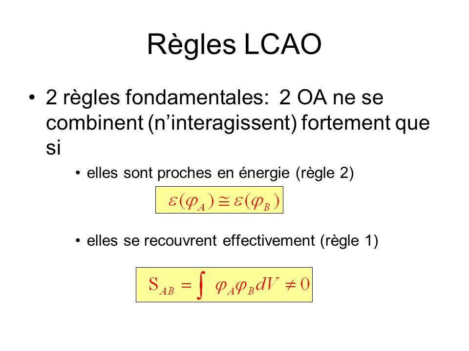 Règles LCAO 2 règles fondamentales: 2 OA ne se combinent (n'interagissent) fortement que si. elles sont proches en énergie (règle 2)