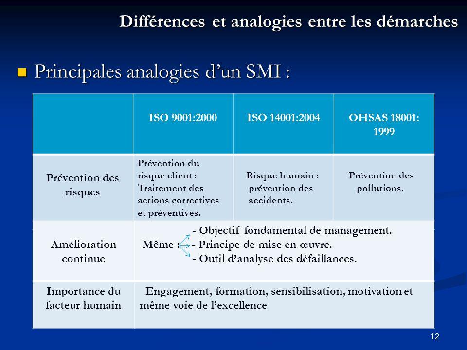 Principales analogies d'un SMI :
