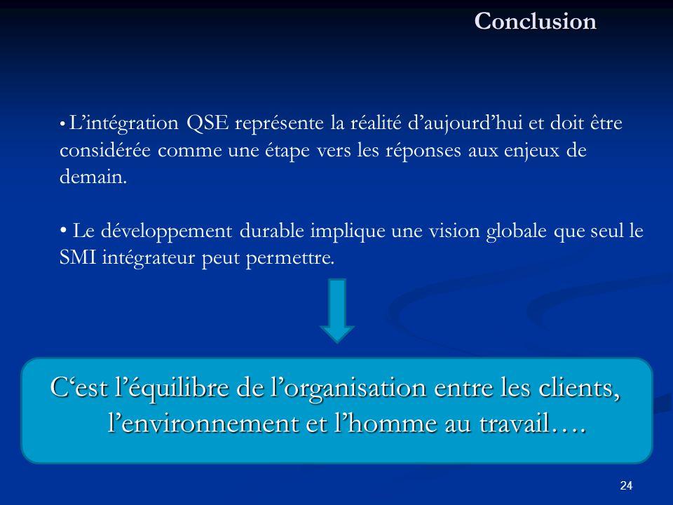 Conclusion L'intégration QSE représente la réalité d'aujourd'hui et doit être considérée comme une étape vers les réponses aux enjeux de demain.