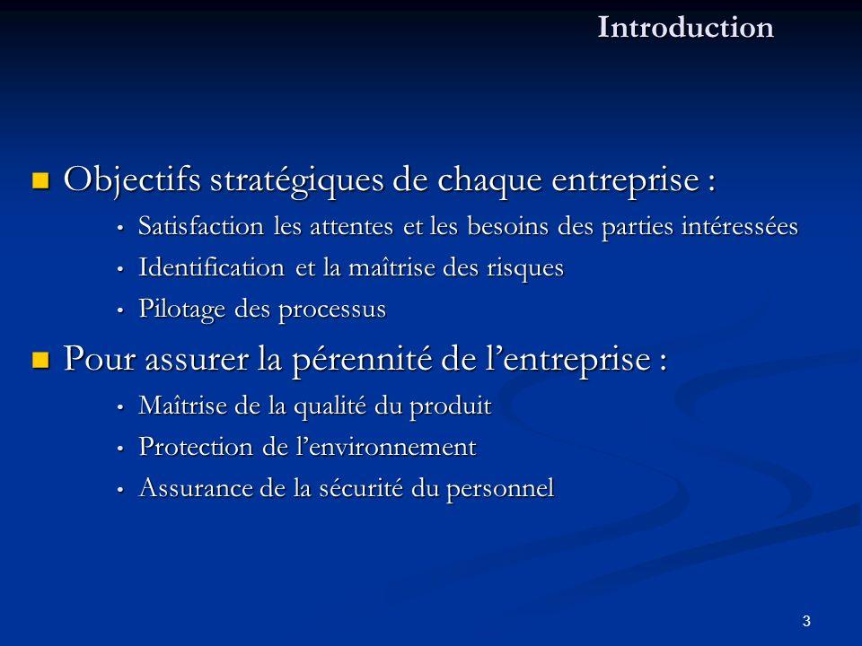 Objectifs stratégiques de chaque entreprise :
