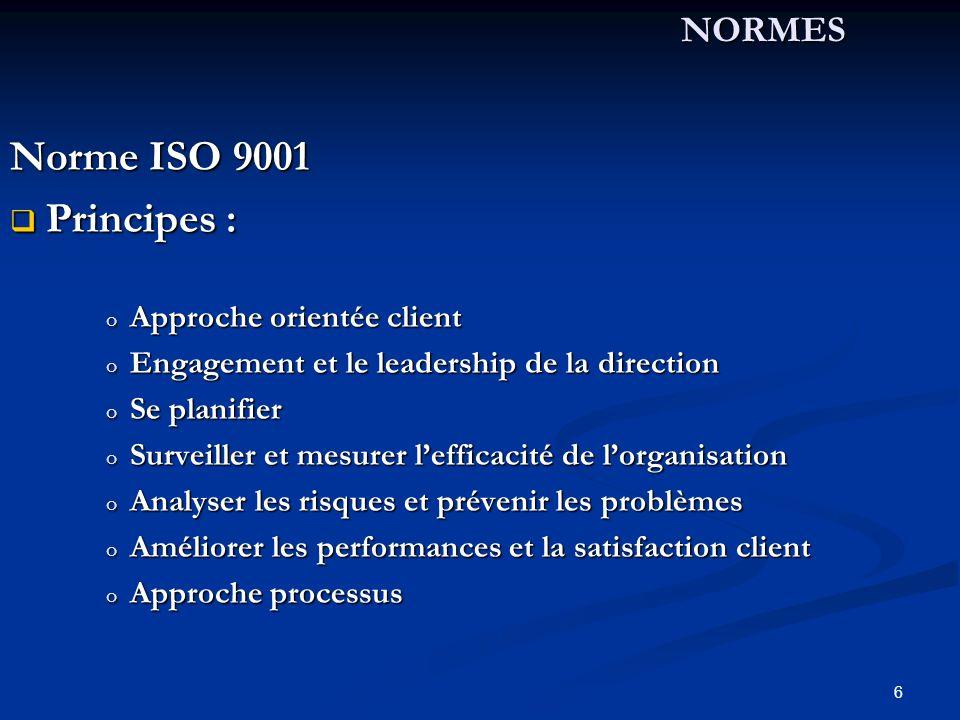 Norme ISO 9001 Principes : NORMES Approche orientée client