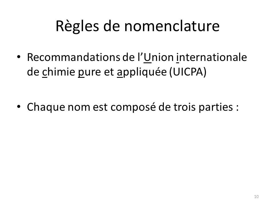 Règles de nomenclature