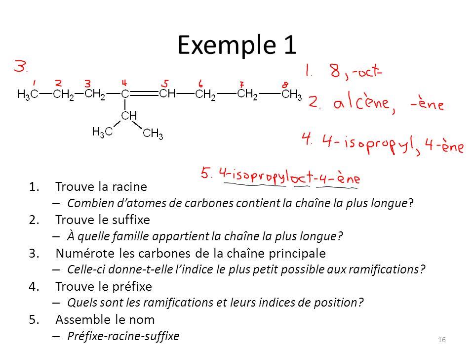 Exemple 1 Trouve la racine Trouve le suffixe