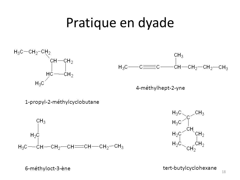 Pratique en dyade 4-méthylhept-2-yne 1-propyl-2-méthylcyclobutane