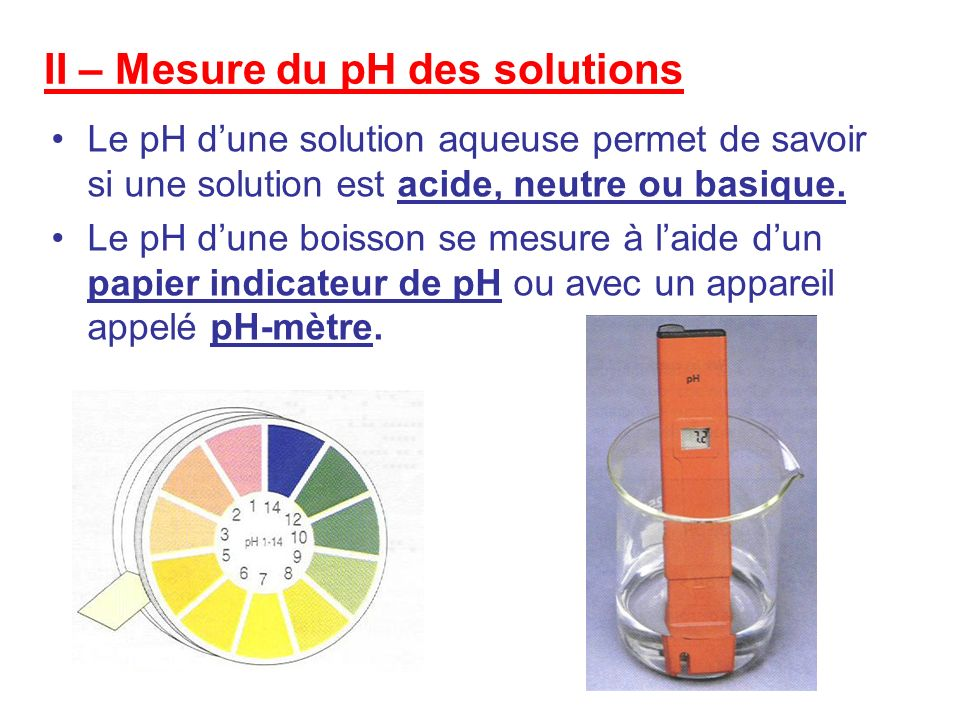 II – Mesure du pH des solutions