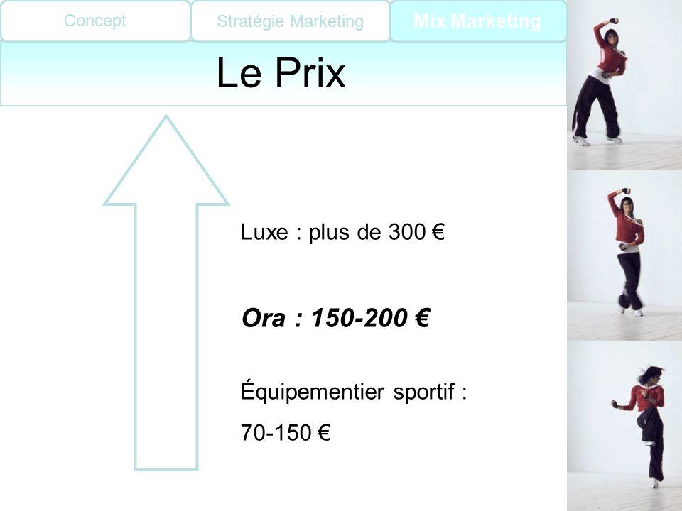 Le Prix Ora : 150-200 € Luxe : plus de 300 € Équipementier sportif :