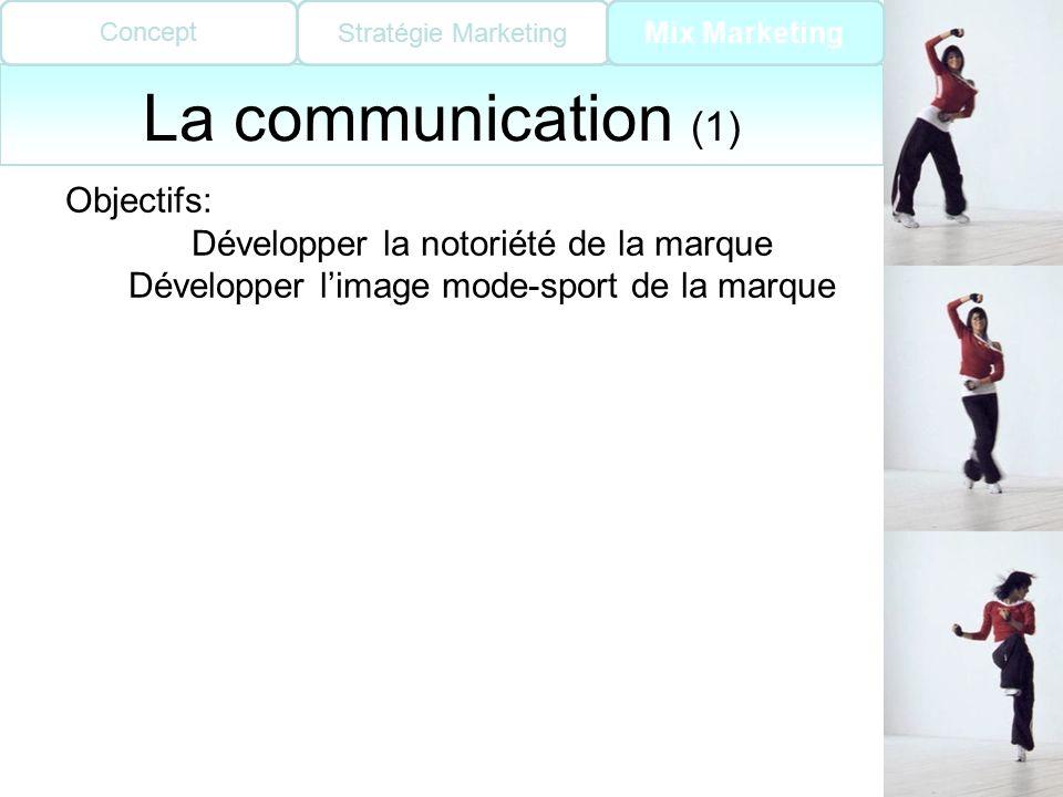 La communication (1) Objectifs: Développer la notoriété de la marque