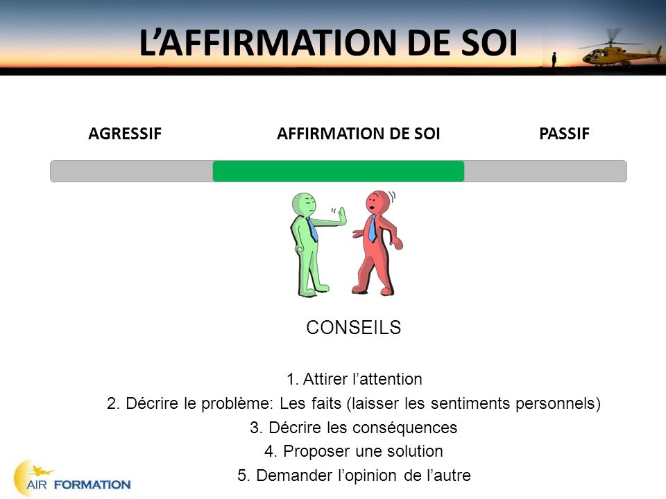 Formation initiale ou continue pr sent par air formation for Haute opinion de soi