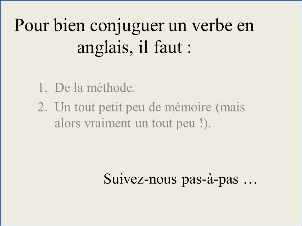 Berühmt Pour bien conjuguer un verbe en anglais, il faut : - ppt video  HL55